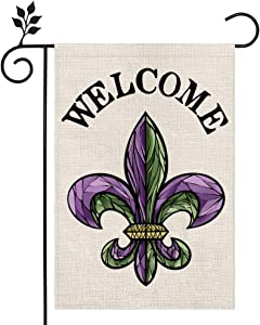 CROWNED BEAUTY Mardi Gras Fleur de Lis Welcome Garden Flag 12×18 Inch Small New Orleans Vertical Double Sided Flag for Outside Yard Carnival Celebration Farmhouse Décor CF031-12