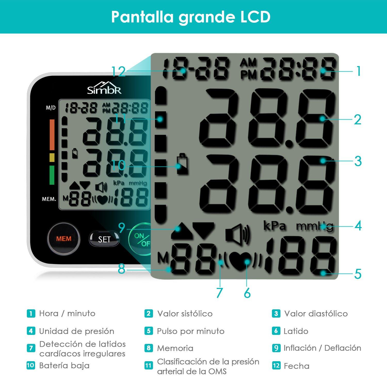 SIMBR Tensiómetro de muñeca Monitor de presión arterial Alta precisión y fiabilidad Gran pantalla LCD con Memoria (2 * 90) para 2 Usuarios: Amazon.es: Salud ...