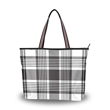 5c36b2f3bfd7 Amazon.com: Black And White Plaid Stripes Travel Shopping Zipper Female Bag  Ladies Foldable Waterproof Overnight Mini Student Bag Light Handbag  Shoulder Bag