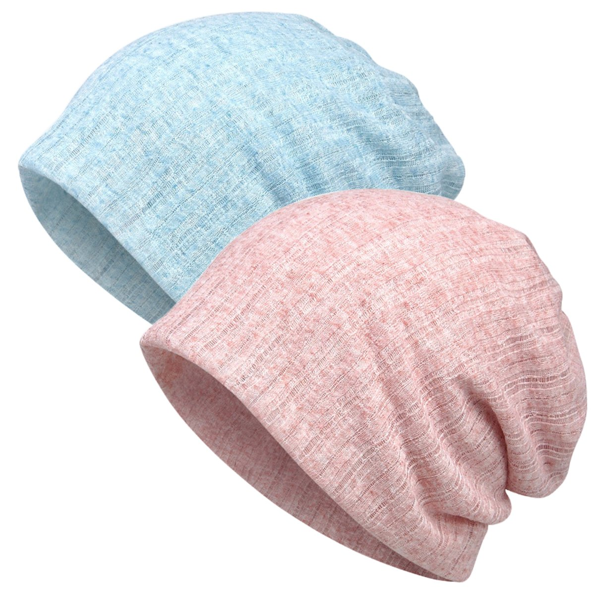 DancMolly Chmeo Baggy Slouchy Hats Loosely Skullies Beanie Lightweight Summer Caps for Cancer (Blue+Pink)
