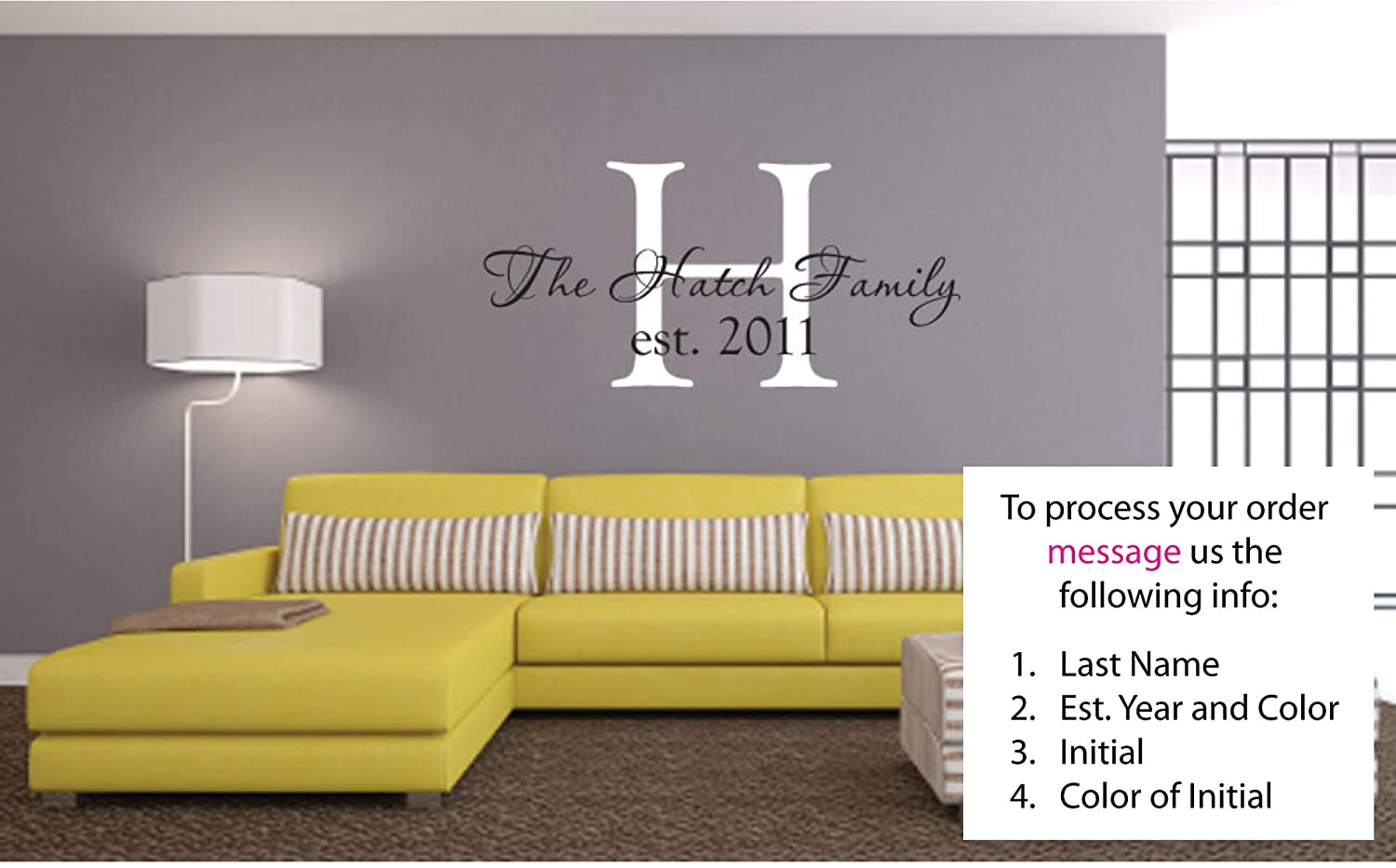 Amazoncom Personalized Last Name And Est Date Vinyl Wall Art - Custom vinyl wall decals saying
