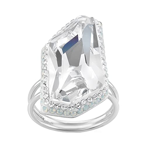 1a8265f43 Image Unavailable. Image not available for. Color: Rhodium Plated Sterling  Silver Asymmetrical Clear and White Swarovski Crystal Ring