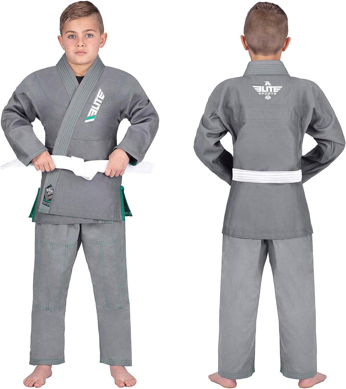 Elite Sports Kids BJJ GI See Special Sizing Guide Youth IBJJF Children/'s Brazilian Jiujitsu Gi Kimono W//Preshrunk Fabric /& Free Belt