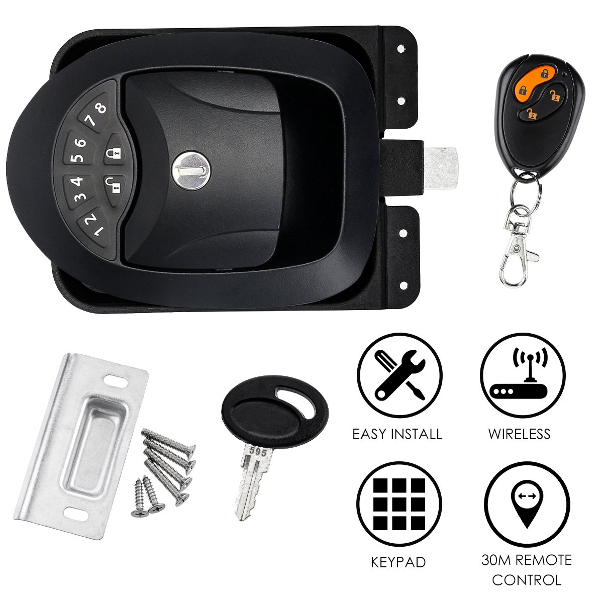 SAFETYON Keyless Lock Trailer Door Lock with Car Alarms Remote Control Central Kit Door Lock Latch Handle Knob Deadbolt Camper Trailer