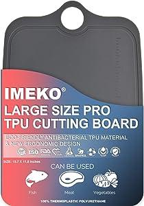 "IMEKO New 2019 Kitchen Ergonomic Design TPU Cutting Board - Flexible, Food Safe, BPA free Chopping Mat, Large 15.7"" x 11.5"""