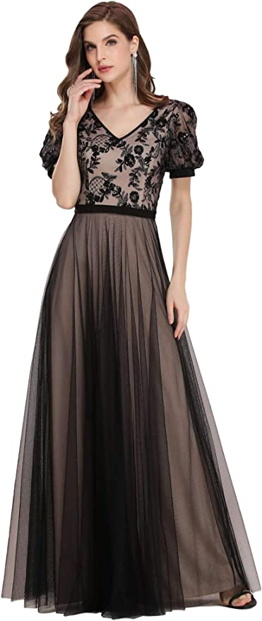 1940s Dress Styles Ever-Pretty Womens Sequin Flowy Lace A Line Tulle Formal Dress with Puff Sleeve 0351 $42.99 AT vintagedancer.com