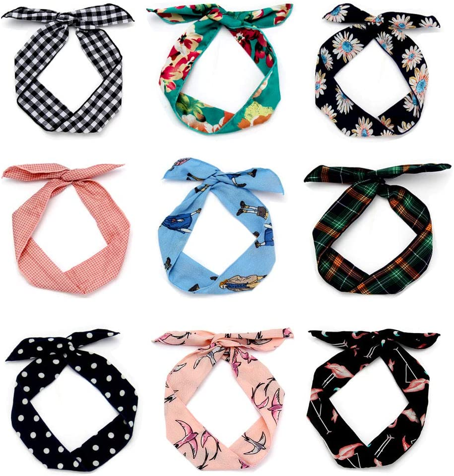 9 Pack Headbands Women's Headwraps Bows Iron Wire Girl Makeup Shower Hair Accessories (Fashion Style)