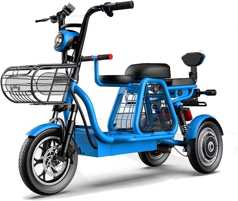 Alta velocidad Triciclo eléctrico, Madre-Niño Scooter eléctrico, pantalla LEC / embarque LED delantera y trasera / 48V500w Motor / Suspensión Independiente, de tres plazas grande de soporte de carga