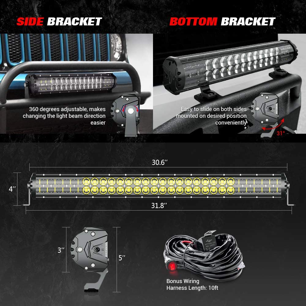 MICTUNING Magical M2 Aerodynamic 31 Inch 180W LED Light Bar Patent Pending Dual Row Off Road Driving Light Combo Work Light with Wiring Harness and Side and Bottom Brackets