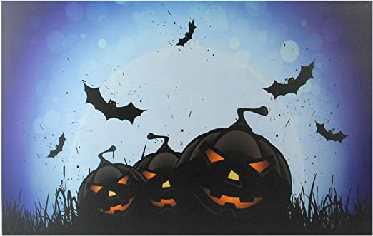 "Northlight LED Bats Jack-O-Lantern Halloween Canvas Wall Art 19.75/"" x 19.75/"""