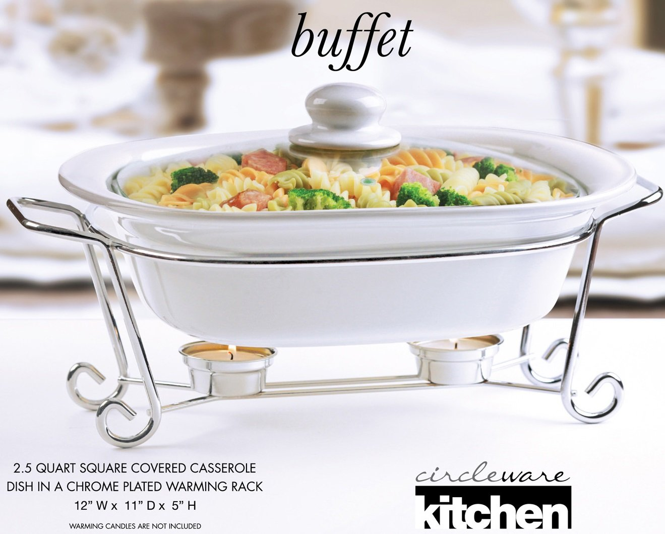 Circleware Ceramic Cookware Chafer Buffet Server/warmer/baker Serving Tray with Glass Lid and Metal Serving Stand, 2.5 Quart, 12'' W x 11'' D x 5'' H, Limited Edition Serveware Cookware Bakeware Square by Circleware (Image #2)
