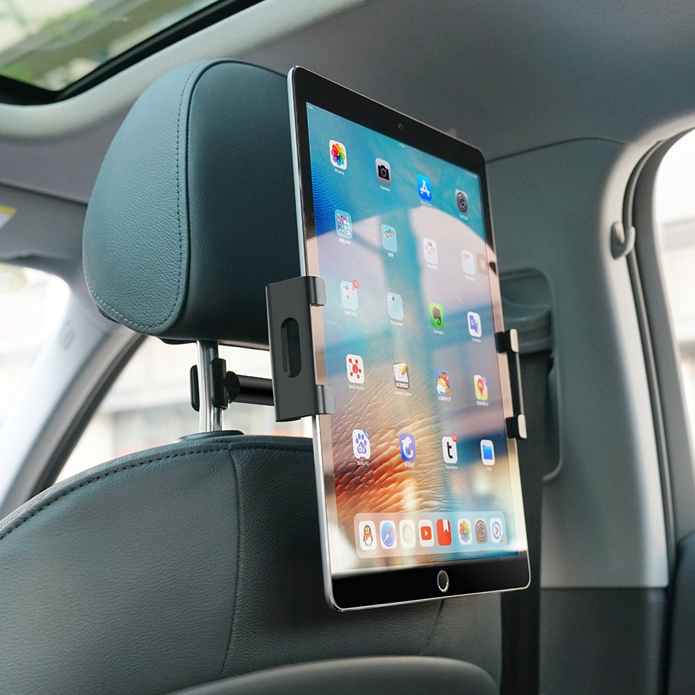 Car Tablet Headrest Mount, Lamicall Tablet Holder : Back seat Stand Cradle Compatible with 4.7~13 inch Like iPad 2017 Pro 9.7, 10.5, 12.9, Air Mini 2 3 4, Accessories, E-Reader, Smartphones - Black by Lamicall (Image #3)
