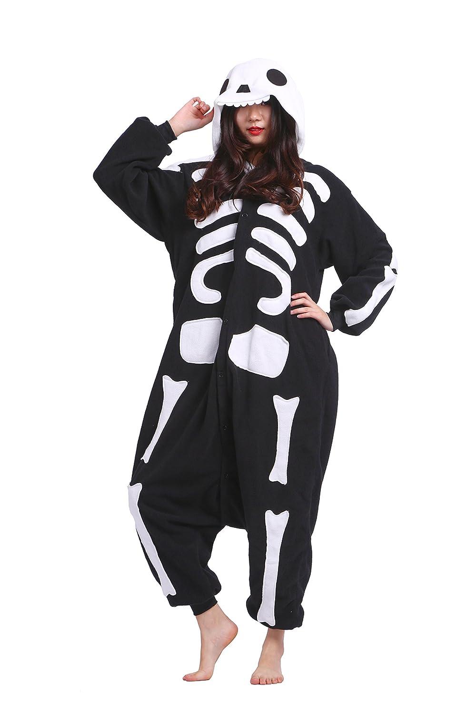 Magicmode Unisex Animales de Dibujos Animados Kigurumi Pijamas Adultos Enterizo Anime Sudadera con Capucha de Cosplay Ropa de Dormir Esqueleto XL