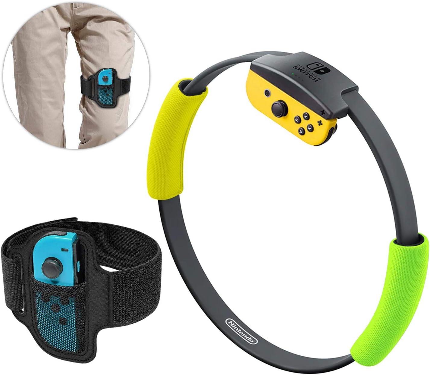 Ring-Con Grips y correa de fijación de pierna para Nintendo Switch Game, agarres antideslizantes y juego de correa de pierna elástica ajustable para anillo Fit Adventure Game Ring-Con excluido, color amarillo y