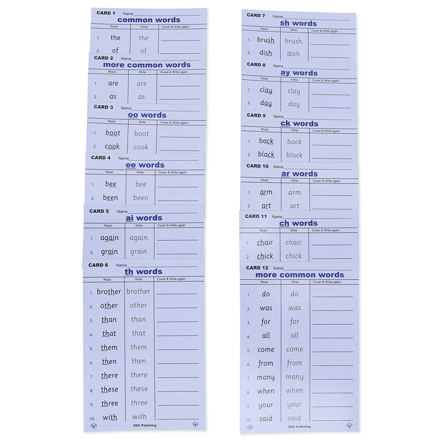 Common Word Spelling cards Bookmarks and Mental Maths Cards