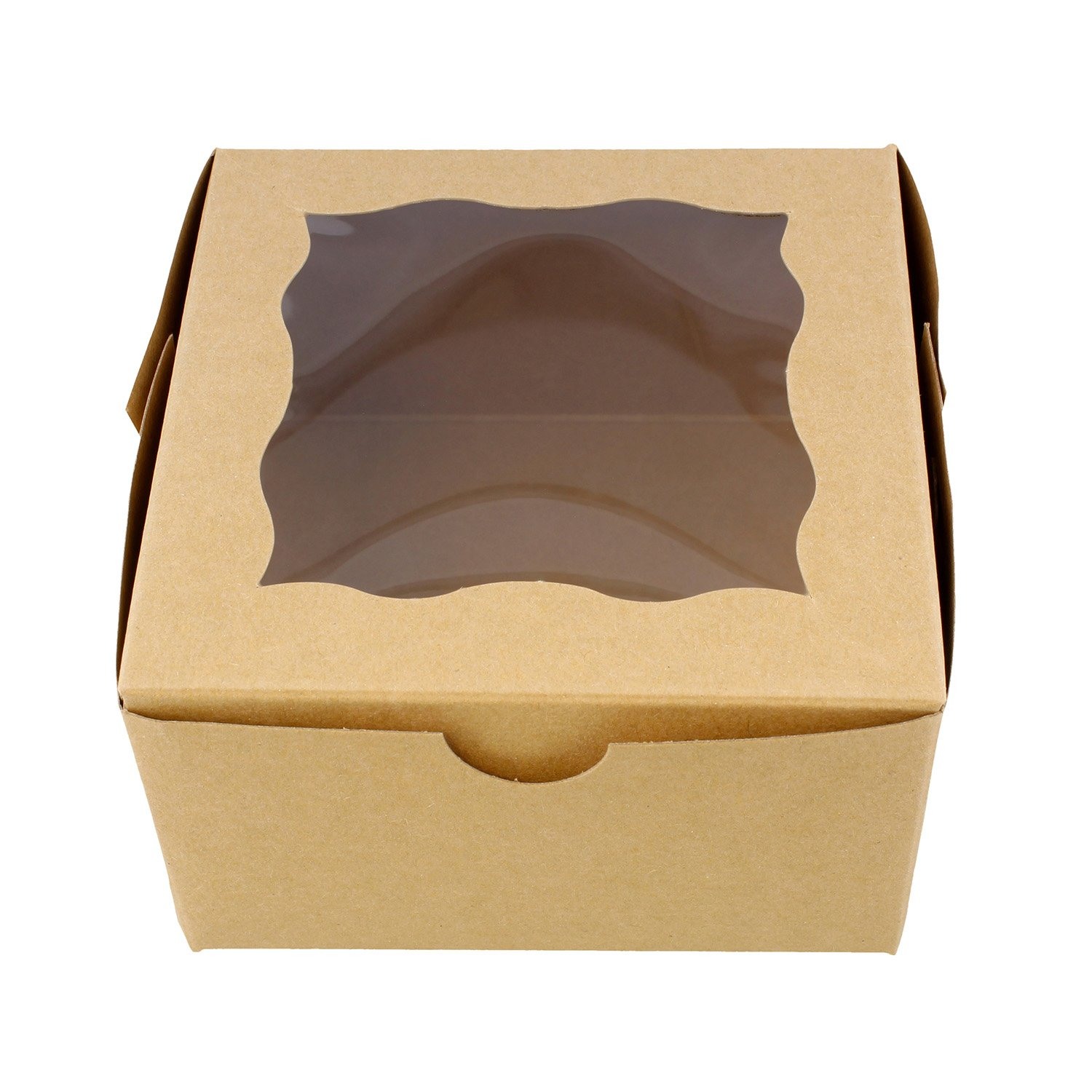 Spec101 Brown Bakery Boxes with Window, 25pk - 4in x 4in Cake Boxes, Party Favor Boxes, Candy Boxes, Dessert Boxes