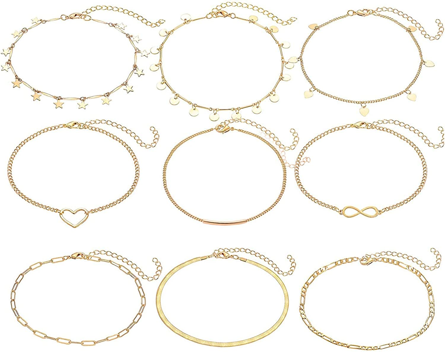YAHPERN 9PC Anklets for Woman Gold Silver Ankle Bracelet Boho Adjustable Layered Chain Anklet Surf Beach Foot Jewelry