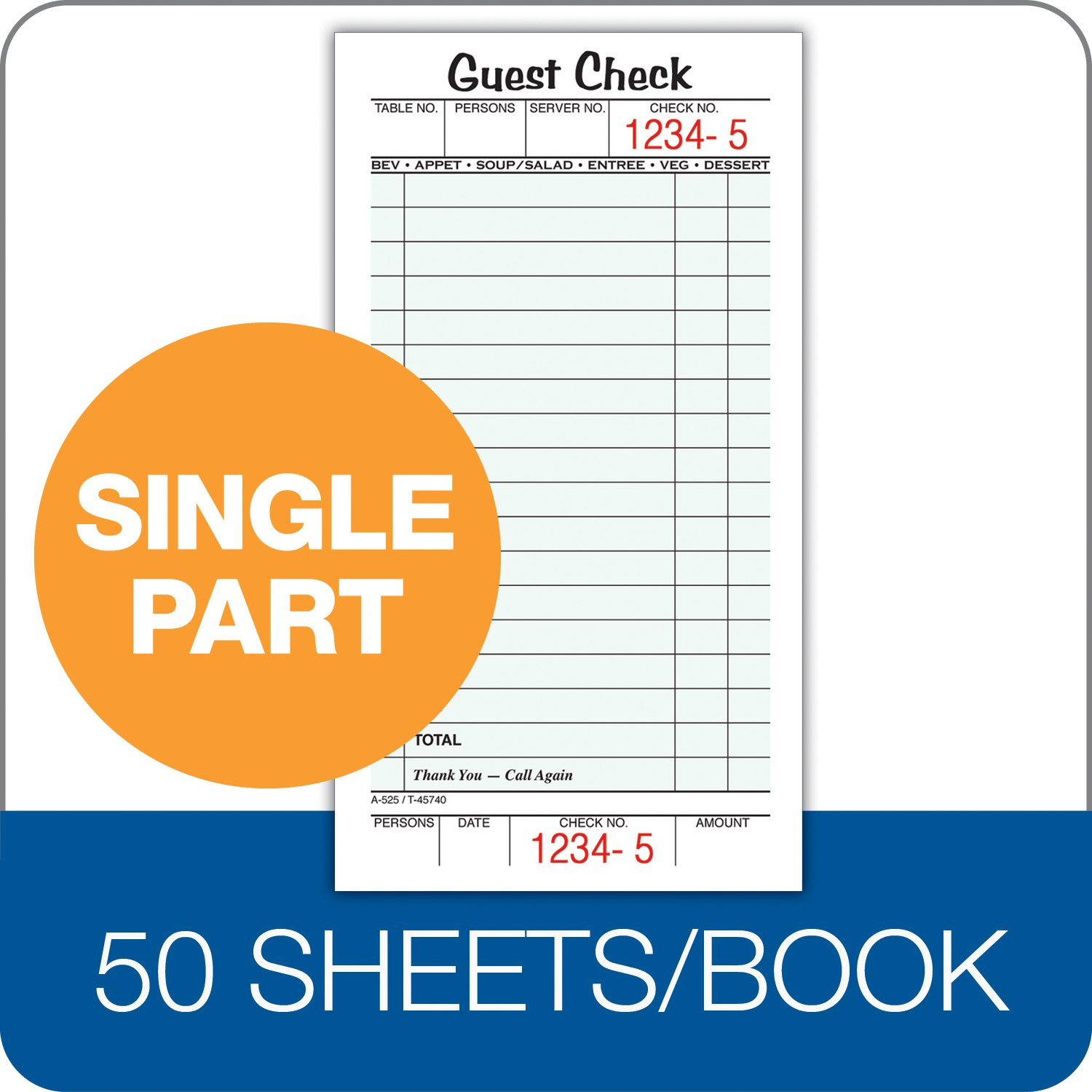 Amazon.com: Adams Guest Check Pads, Single Part, Perforated, White ...
