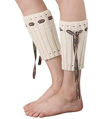 Damen Stulpen Häkeln Stricken Boho String Beinwärmer Boot