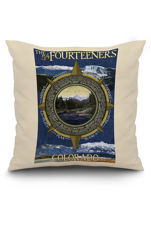 The Fourteeners – ロッキーマウンテン国立公園 20 x 20 Pillow (Natural Border) LANT-3P-PW-NL-36921-20x20 B01N2MXXYE  20 x 20 Pillow (Natural Border)