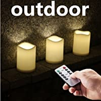 "Outdoor Waterproof Remote Flameless Battery LED Pillar Candles, Made of Plastic, Won't Melt, Weather Resistant Design 3 x 4"" Set of 3"