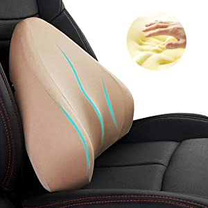 QBUC Lumbar Support Pillow,Lumbar Cushion,Memory Foam Back Cushion Pillow for Office Chair, Relieve Back Pain and Muscle Tension, Improve Computer Posture, Suitable for Cars and Office Chairs (Beige)