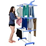 Magna Homewares Heavy Duty Steel Advance Blue Series Grandis Plus 3 Layers Cloth Drying Stand with Wheels and Cloth Hangers