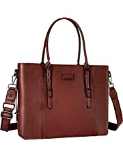 MOSISO Laptop Tote Bag (Up to 15.6 Inch), Water Resistant PU Leather Business Work Office Shoulder Briefcase Handbag Compatible MacBook & Notebook Large Capacity with Padded Compartment, Brown