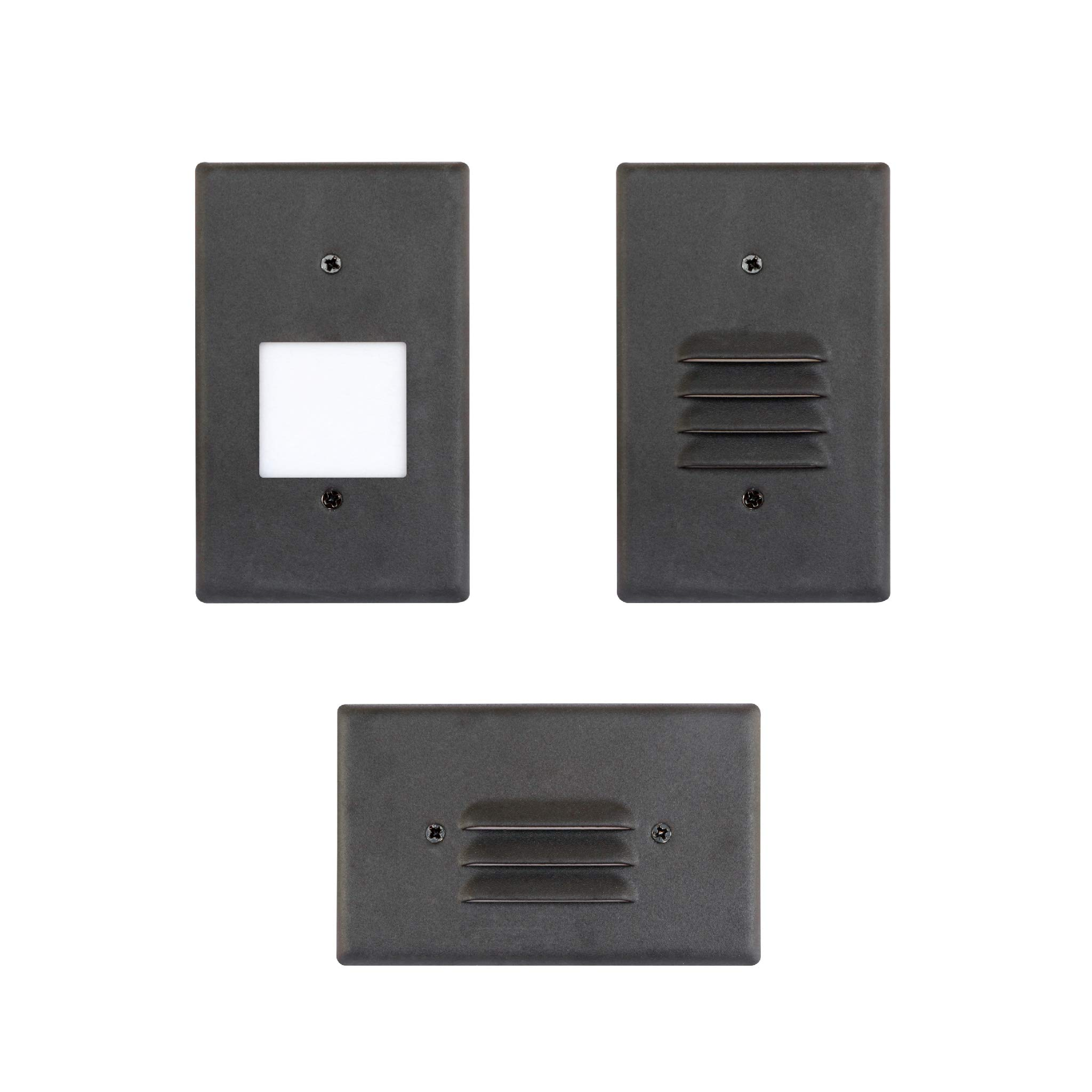 LED Step Light Black Finish (4 Pack) 2W; Interchangeable Plate Flat Frosted (Horizontal Louver/Vertical Louver) 10 YR Warranty; Waterproof; Dimmable; 120V; 150 Lumnes (Soft White 2700K)