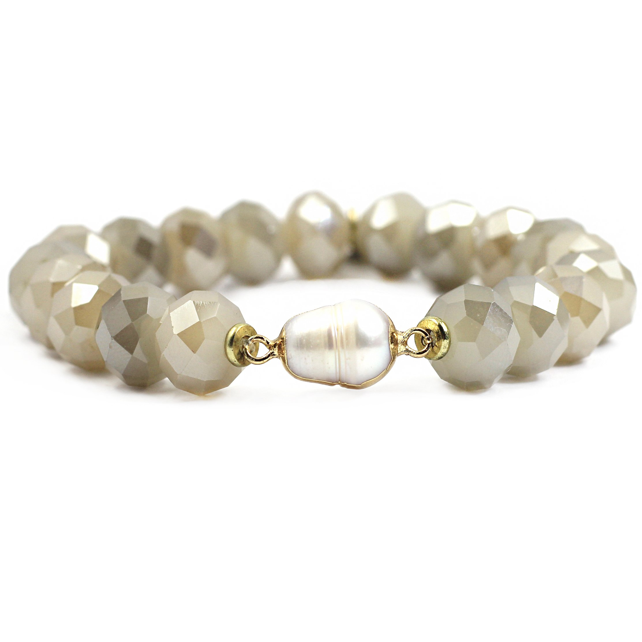 tom+alice New Arrival Beige Glass Jewelry Christmas Gift 11MM Beads Beaded Stretch Bracelets for Women Gold