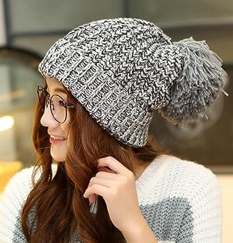 Women Hat Peluca de Piel de Gran tamaño Engrosada Gorra de Lana Gruesa de Punto Sombrero