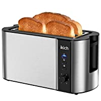 Deals on IKICH 4 Slice Toaster, 2 Long Slot Stainless Steel