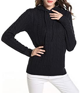 d90311d435 Doballa Women s Long Sleeve Ribbed Cable Knit Pullover Sweater Jumper Top  with Hoodie