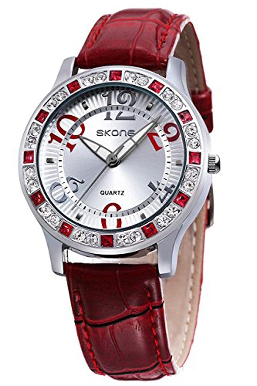 Ladies Elegant Dress Watch Fashion Casual White Leather Quartz Watches for Girls White