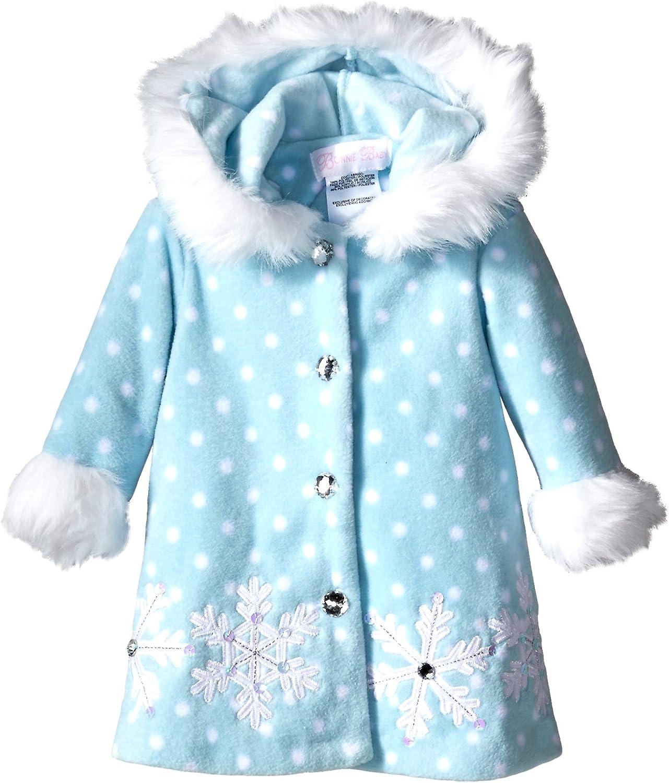 Bonnie Jean Baby-Girls Frosty Aqua Snowflake Faux Fur Coat /& Hat