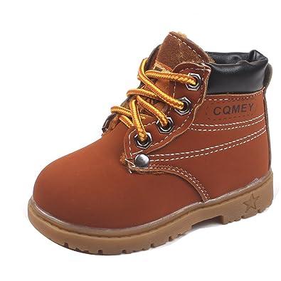 1a8b31e9a89365 Gaorui Bottines à Lacets Enfant Garcon Fille Hiver Chaussure Montante  Doublure Fourrure