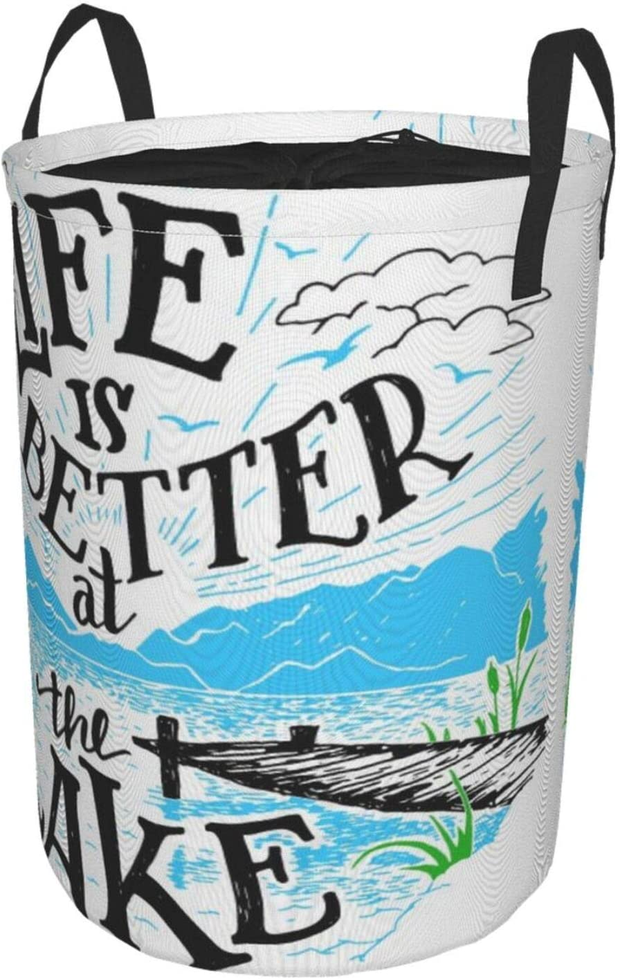 Janrely Personalized Large Washing Clothes Hamper,Cabin Decor Life is Better at The Lake Wooden Pier Plants Mountains Outdoors Sketch,Round Folding Laundry Basket Family Toys Storage Sack,14 x 19in