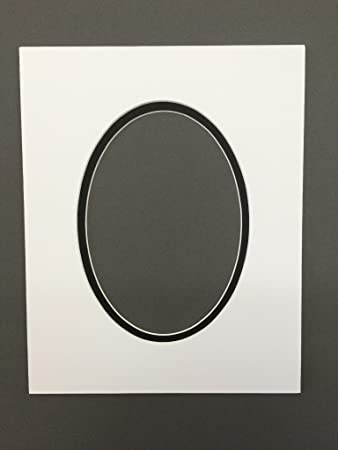 Amazon.com: Pack of 5 8x10 White & Black Double Oval Picture Mats ...