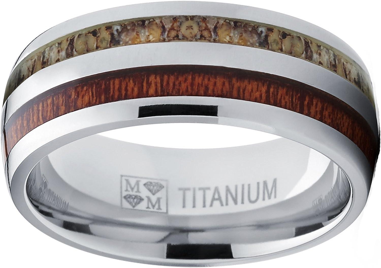 Ultimate Metals Co./® Bague de fian/çailles et Alliance en Titane avec incrust/é du Bois et ramure de cerf Anneau de Chasse en Titane pour Homme
