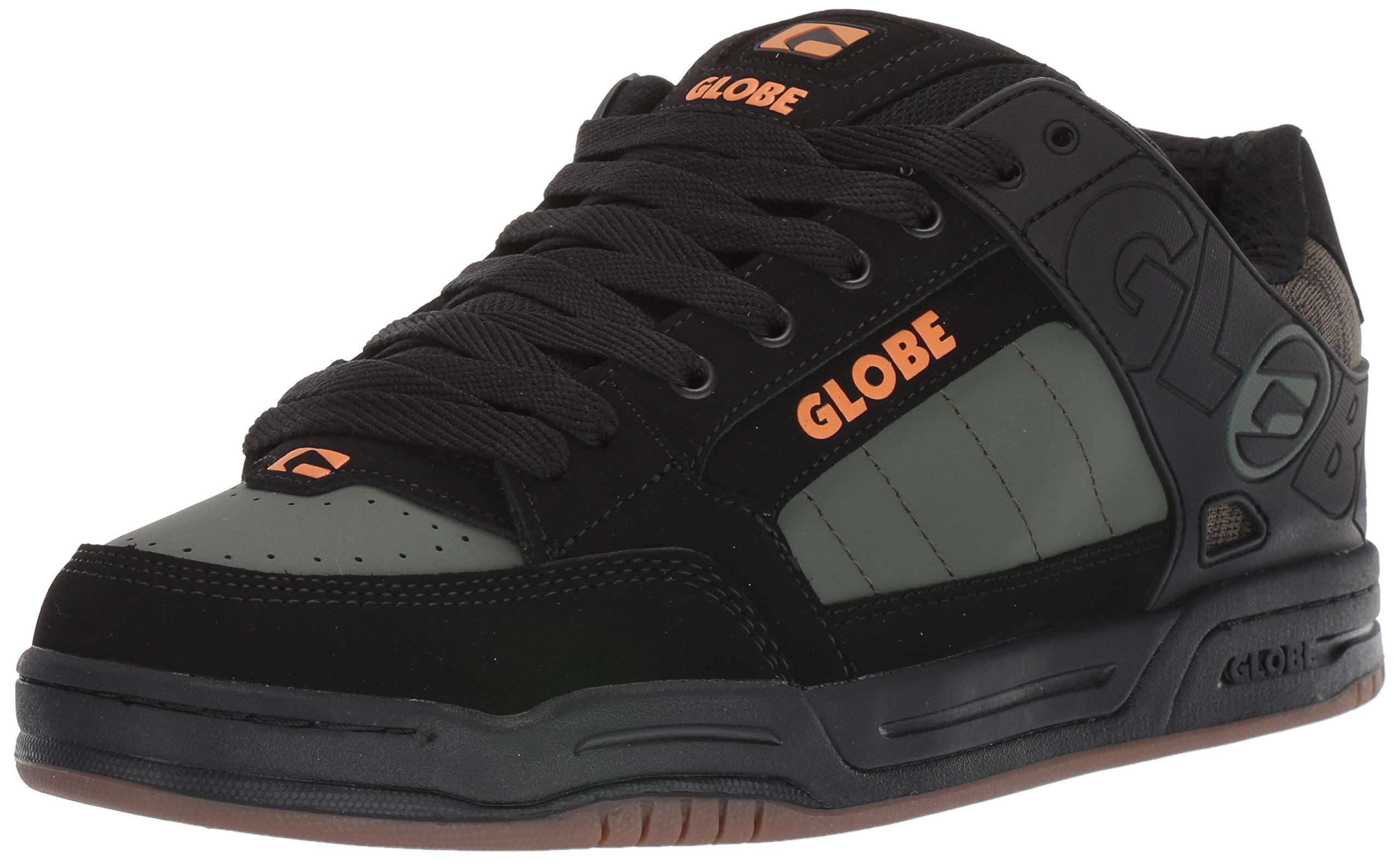 Globe Men's Tilt Skate Shoe, Black/Olive Knit, 7.5 Medium US by Globe