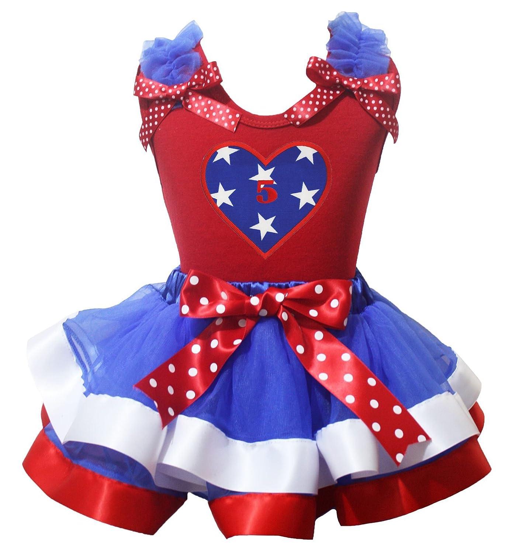 4th July Dress 5th Star Heart Red Shirt Dot Bow White Blue Petal Skirt Set Nb-8y