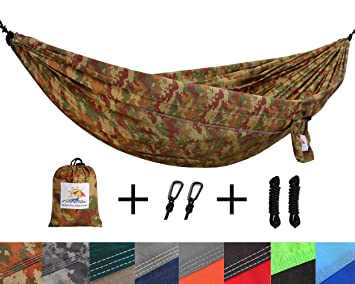 Patio Watcher Single Double Camping Hammock Ultralight Portable Nylon  Parachute Hammocks For Backpacking, Travel,