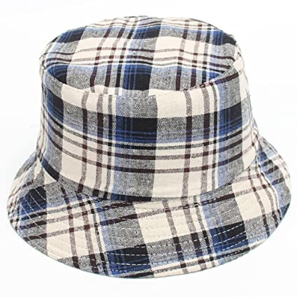 03c29adf32ca2d Amazon.com: ShenPourtor Baby Toddler Kids Cotton Brim Bucket Sun Hat Plaid  Printed Pattern Sun Protection Bucket Hat (B): Toys & Games