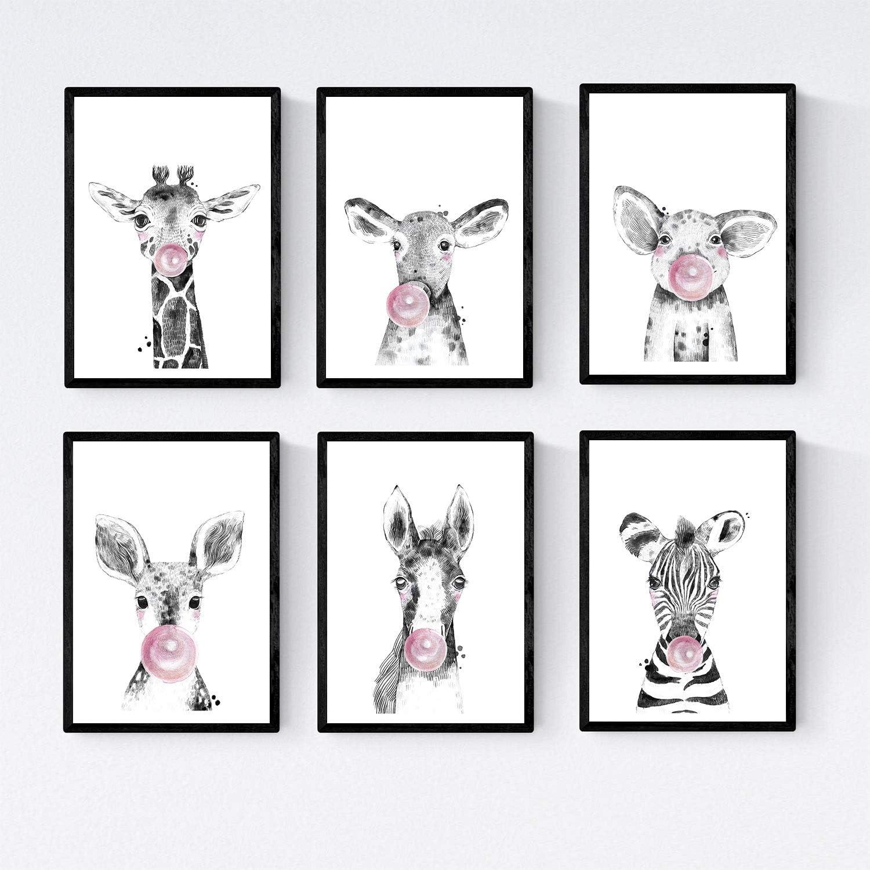 Nacnic Set 6 Posters Animales Bebes con Chicle. Cebra Cerdo Girafa Ciervo Vaca Caballo.Tamaño A4