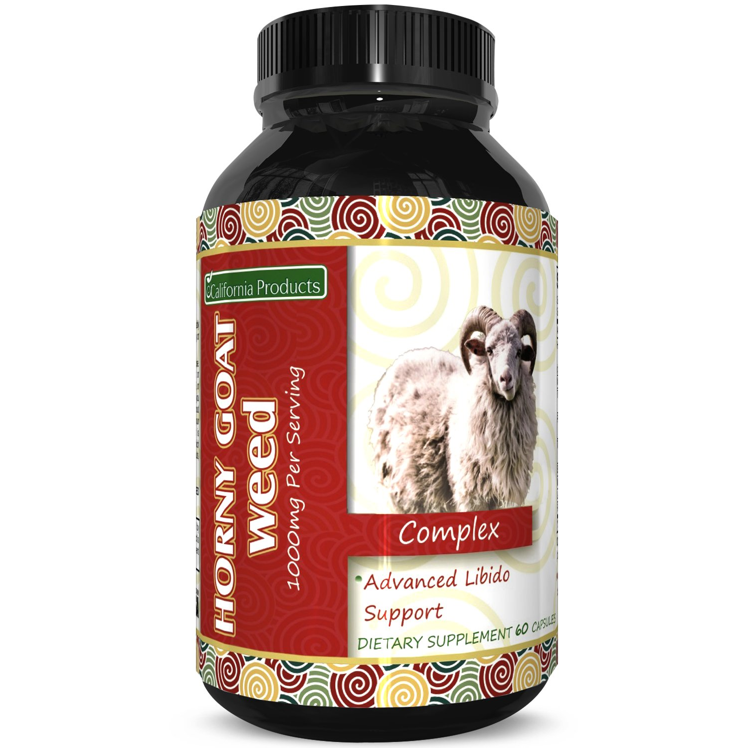Horny Goat Weed Extract – Libido Supplement for Men & Women – Boosts Sex Drive & Increases Desire Naturally – Extra Strength Herbal Formula – With Maca Root & Tongkat Ali – By California Products