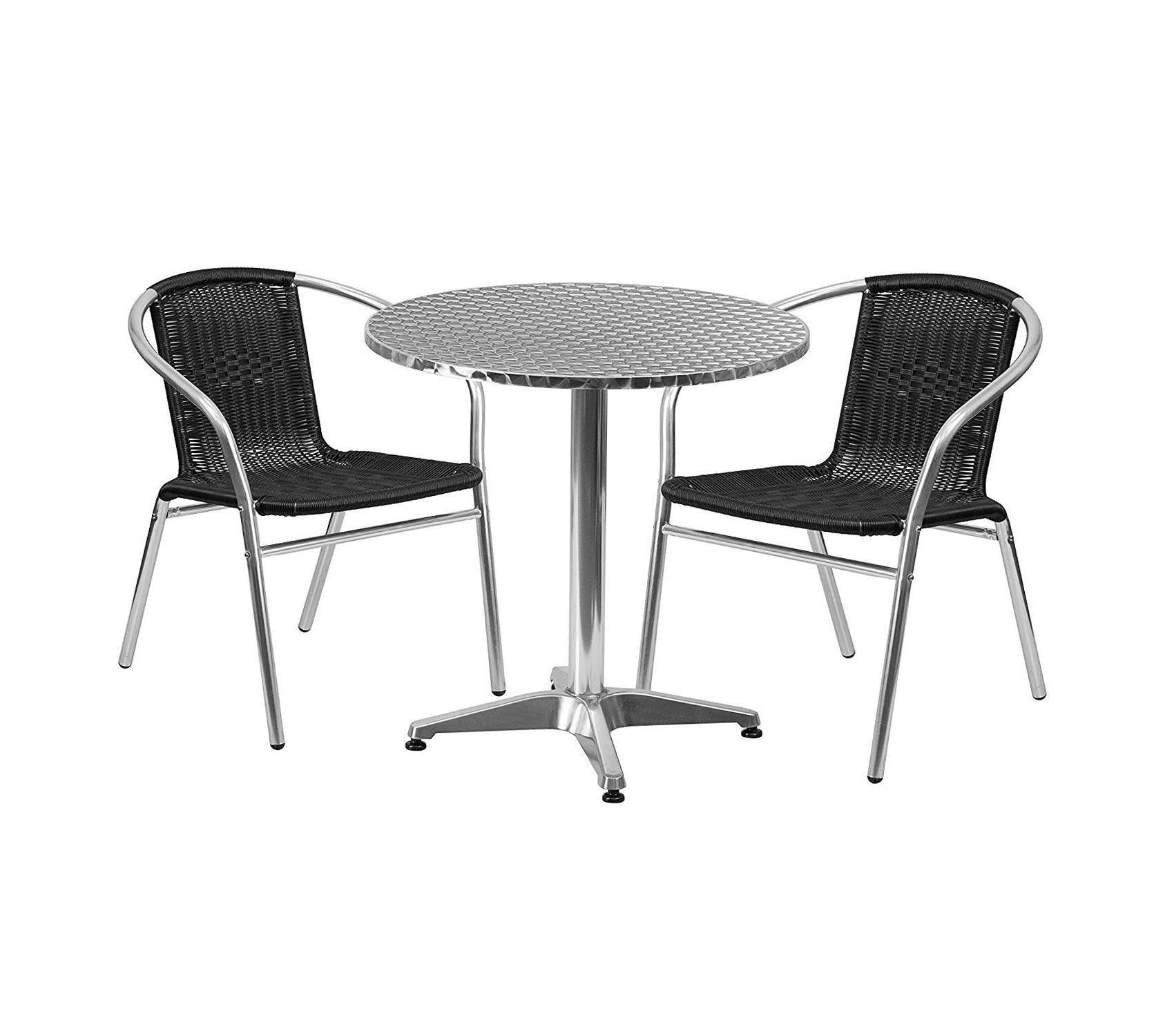Office Home Furniture Premium TLH-ALUM-28RD-020BKCHR2-GG Round Aluminum Indoor-Outdoor Table with 2 Black Rattan Chairs, 27.5''
