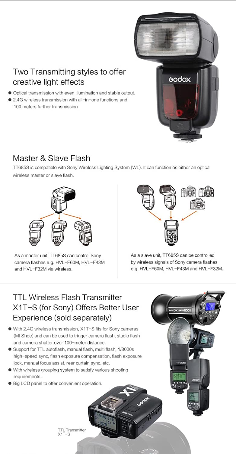 Flash Diffuser Softbox and Flash Color Filters for Sony DSLR Cameras with MI Shoe Godox TT685S HSS 1//8000S GN60 TTL Flash Speedlite with X1T-S 2.4G TTL Wireless Flash Trigger