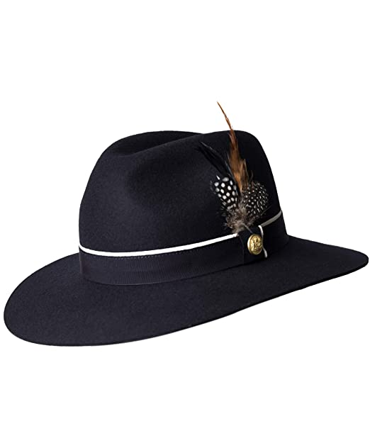 99e0bc0c2b07d Holland Cooper Women s Grayson Trilby Hat with Feather Detail M Navy ...