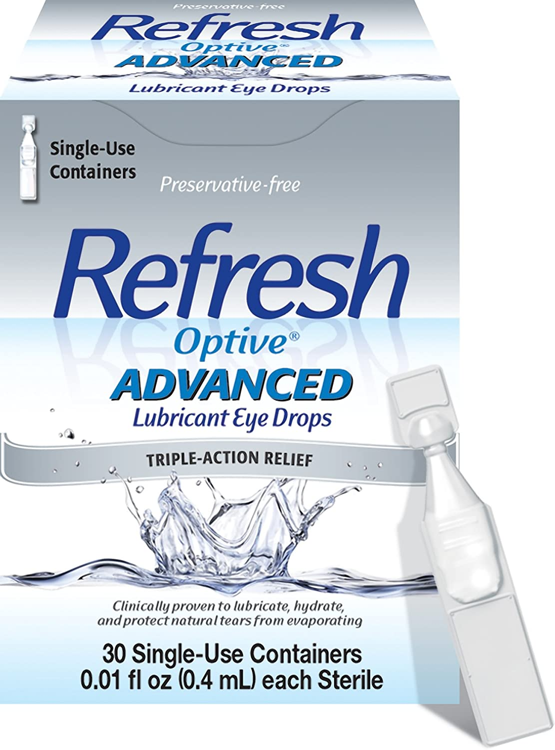 Refresh Optive Advanced Lubricant Eye Drops, 30 Single-Use Containers, 0.01 fl oz (0.4mL) Each Sterile