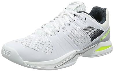 Babolat Propulse Team Indoor, Zapatillas de Tenis para Hombre, Varios Colores (Blanco/Gris/Amarillo), 44.5 EU